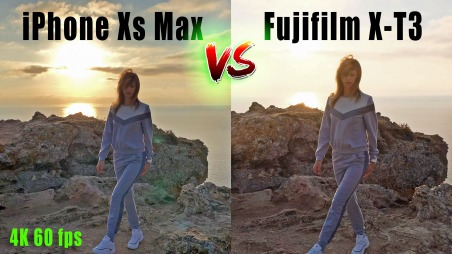 iPhone Xs Max vs Fujifilm X-T3 Side by Side comparison at 4K 60 fps.